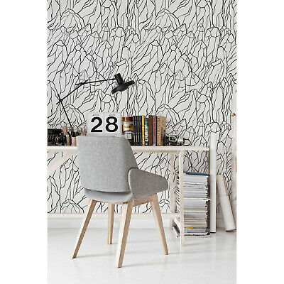 Mount Black Removable Wallpaper Sketch of Mountains Pattern Peel and stick