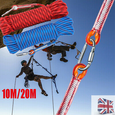 New Rock Climbing Rope Outdoor Safety Mountain Rescue Escape Rope 10m/20m UK