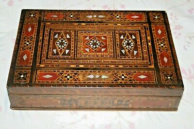 Antique Wooden Tunbridge Ware Marquetry Detail Box Hinged Lid MOP Wood Storage