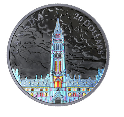1 oz. Pure Silver Coin - Lights of Parliament Hill -  (2019) (Low  Cert.)