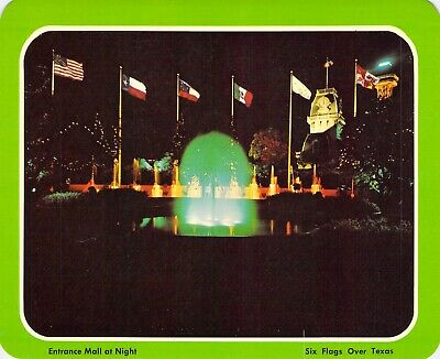 postcard  5.25x6.75 Entrance MALL AT Night #1 Six Flags Over Texas Arlington, TX