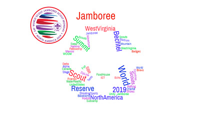2019 24th World Scout Jamboree Postcard Fleur De Lis Word Cloud Collage Card Art