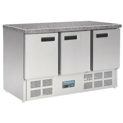 Polar 3 Door Refrigerated Counter with Marble Work Top 368Ltr - CL109 Commercial