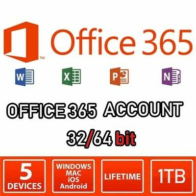 OFFICE 365 2019 ACCOUNT 5 DEVICES 1TB OneDrive Win/Mac/Android/iOS