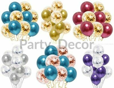 CONFETTI LATEX BALLOONS Rose Gold Helium Chrome Balloon Set NEW 10pcs Baloons
