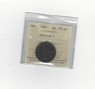 **1884 Obv. #1**,ICCS Graded Canadian, Large One Cent, **VF-20**