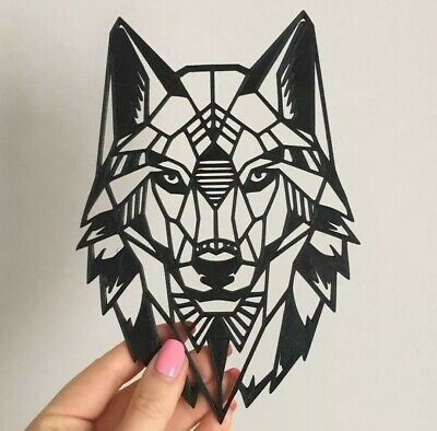 Geometric Wolf Head Wall Art Hanging Decoration Origami Style Pick Your Colour