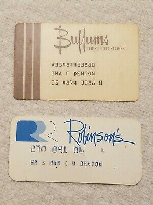 (2) VINTAGE Buffums Robinson's Department Store Credit Cards Princess CA CLOSED