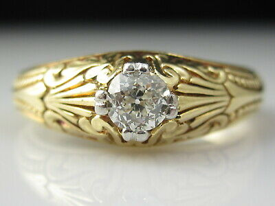 Vintage Diamond Engagement Ring Old Mine Diamond 14K Etched Art Deco Retro