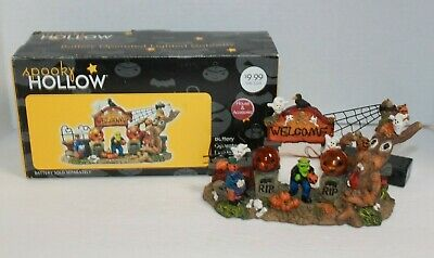 Sleepy Hollow Ceramic Light Up Halloween Village Battery Operated Gateway