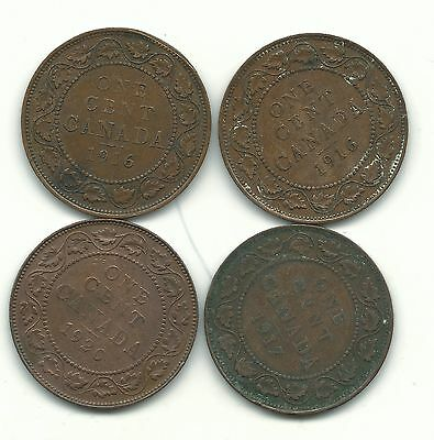 A Very Nice Vintage Lot 4 Canada Large Cents-(2)1916,1917,1920-May164