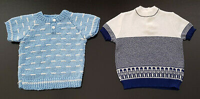 TWO x VINTAGE BABY BOYS' KNITTED TOPS, 'MARQUISE & HANDMADE' MADE IN AUSTRALIA