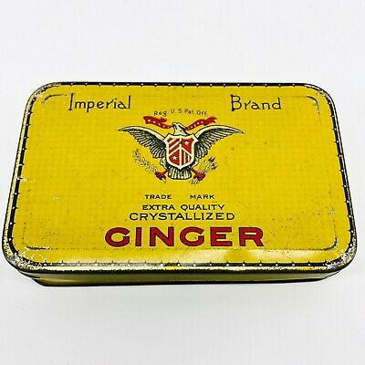 Vintage Imperial Brand Crystallized GINGER TIN Nice Yellow Graphics 2-3/4 Ounces