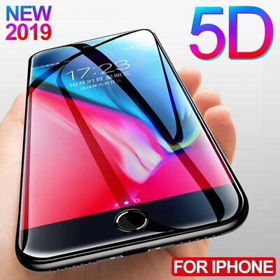 For Apple iPhone 7 8 Plus 6S XS 5D Full Coverage Tempered Glass Screen Protector