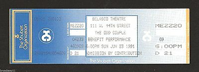 "Tony Randall ""THE ODD COUPLE"" Jack Klugman / Broadway Benefit 1991 Unused Ticket"
