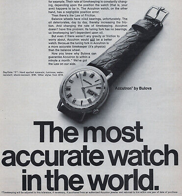 1969 Accutron by Bulova Watch Print Ad - Vintage Timepiece Time & Date