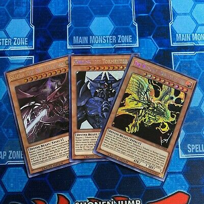 Yugioh: Egyptian God Cards: Obelisk + Slifer + Ra - Prismatic Secret Rare Mp19!