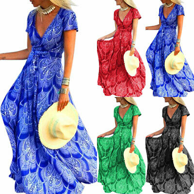 Womens Plus Size Boho Solid Floral Short Sleeve V-Neck Maxi Dress Holiday Beach