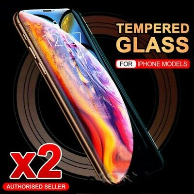 2x For iPhone XS Max XR X 8 7 Plus Real Tempered Glass Screen Protector Apple SE