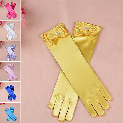 Long Gloves Kids Girls Bow Sleeves 1 Pair Mittens Satin Party Fashion Stylish