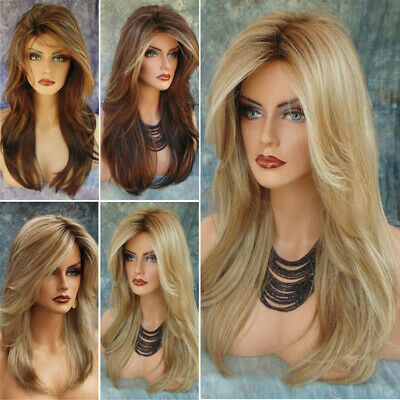 Women Ombre Blonde Long Curly Wigs Natural Brown Wavy Hair Cosplay Wig Fashion