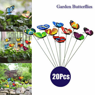 20X Colorful Artificial Butterflies Iron Wire for Garden Decoration Party Home