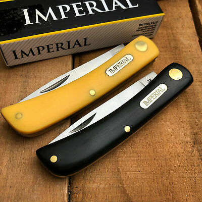 Set of 2 Imperial Schrade Sodbuster Folding Pocket Knife Black Yellow Handles 22
