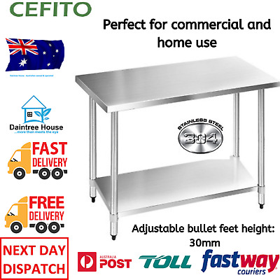 Stainless Steel Bench Table Commercial Home Kitchen Work Food Grade Prep NEW
