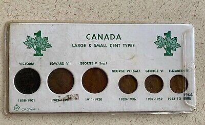 Canada Large & Small Cent Types-Coins In Set Range 1888-1961.