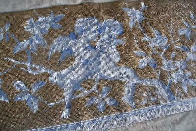 Antique Victorian beadwork beaded embroidery, cherubs embroidered