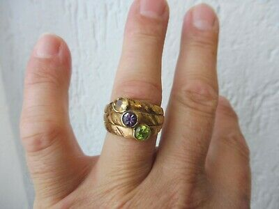 Beautiful, Old Ring, 925 Silver Gold Plated, with Geschliffem Stones, CL, Gr.66