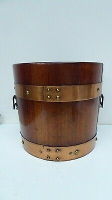 Vintage Oak Coopers Barrel Style Planter Pot Copper Bound - Good Old Planter