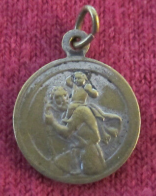 Antique Catholic Religious Holy Medal - Saint Christopher - Joannes XXIII