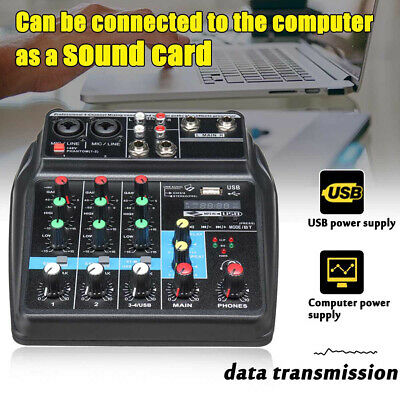 A4 4Channels Audio Mixer Sound Mixing Console with Bluetooth USB Record