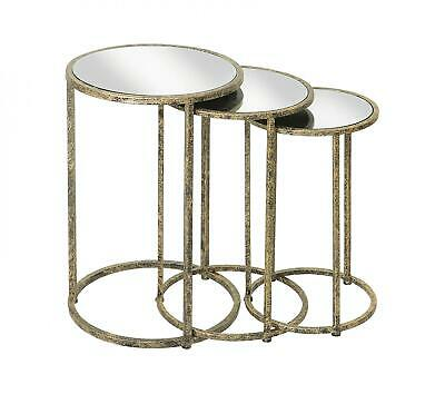 Set 3 Gold & Black Nest Side Occasional Tables Mirrored Top