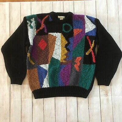 80s 90s Vintage Geometric Abstract Chunky Knit Sweater Size Large Cattivo