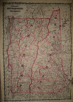 Vintage 1862 ~ NEW HAMPSHIRE VERMONT MAP ~ Old Antique Original Atlas Map 91517