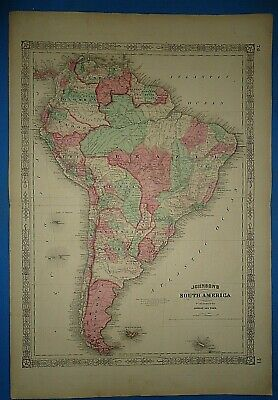 Vintage 1864 SOUTH AMERICA Map ~ Old Antique Original Johnson's Atlas