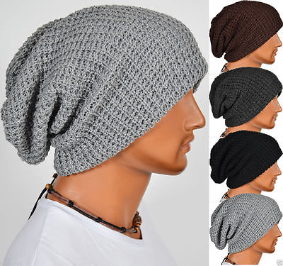 Mens Baggy Beanie Hat Stretch Knitted Slouch Hat Cap Winter Warm Skull Ski Caps