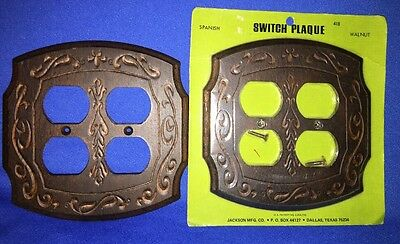 2 Vintage Wood Grain Walnut Wall Plate 4 Outlets Switch Plaques Spanish Motif