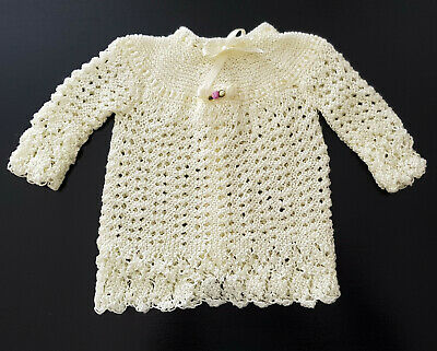 VINTAGE 1970-80's BEAUTIFUL LACY HAND KNITTED DRESS, for BABY / REBORN DOLLS