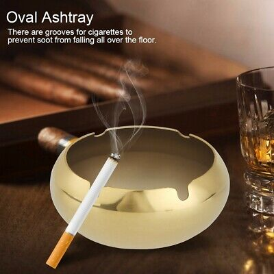 Stainless Steel Windproof Oval Ashtray Desktop Container Cigarette Smoking Set