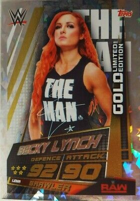 SLAM ATTAX UNIVERSE Limited Edition GOLD Card BECKY LYNCH LEMA 2019
