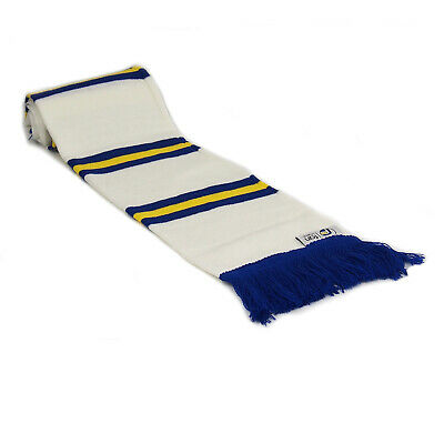 fan originals Retro Football Bar Scarf in Leeds United Colours White Blue Yellow