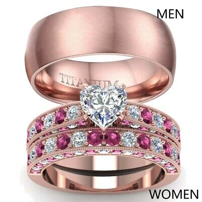 Couple Rings Rose Gold Filled Titanium Steel Mens Band CZ Womens Wedding Ring