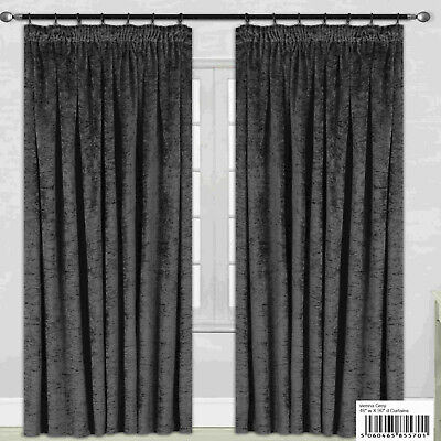 Vienna Silver Grey Crush Crushed Velvet Pencil Pleat Ready Made Lined Curtains