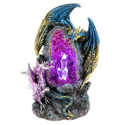 LED Crystal Cave Two Dragons Figurine Blue & Purple