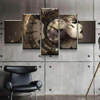 Surreal Women Clock Steampunk 5 panel canvas Wall Art Home Decor Print Poster