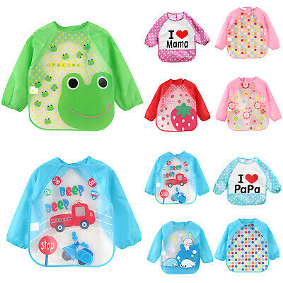 Kids Feeding Cartoon Bib With Long Sleeve Coverall Infant Smock Apron Plastic