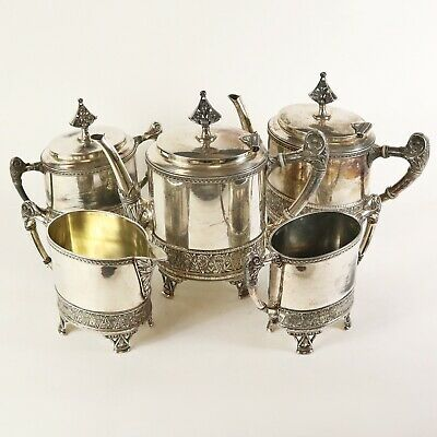 Antique Meriden B Company Footed Coffee Tea Service #1927 Silver Plate Victorian